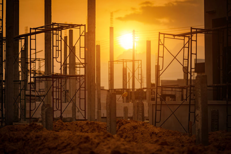 View of construction site during sunset