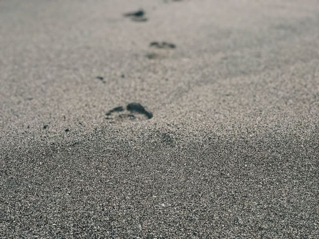 One step at the time Vacation Relaxation Sand Beach Land No People Pattern Sand Beach Day Nature Full Frame Close-up Outdoors Print Selective Focus Track - Imprint Tranquility FootPrint