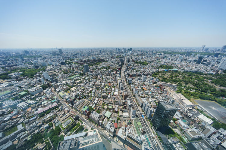 High angle view of city against sky