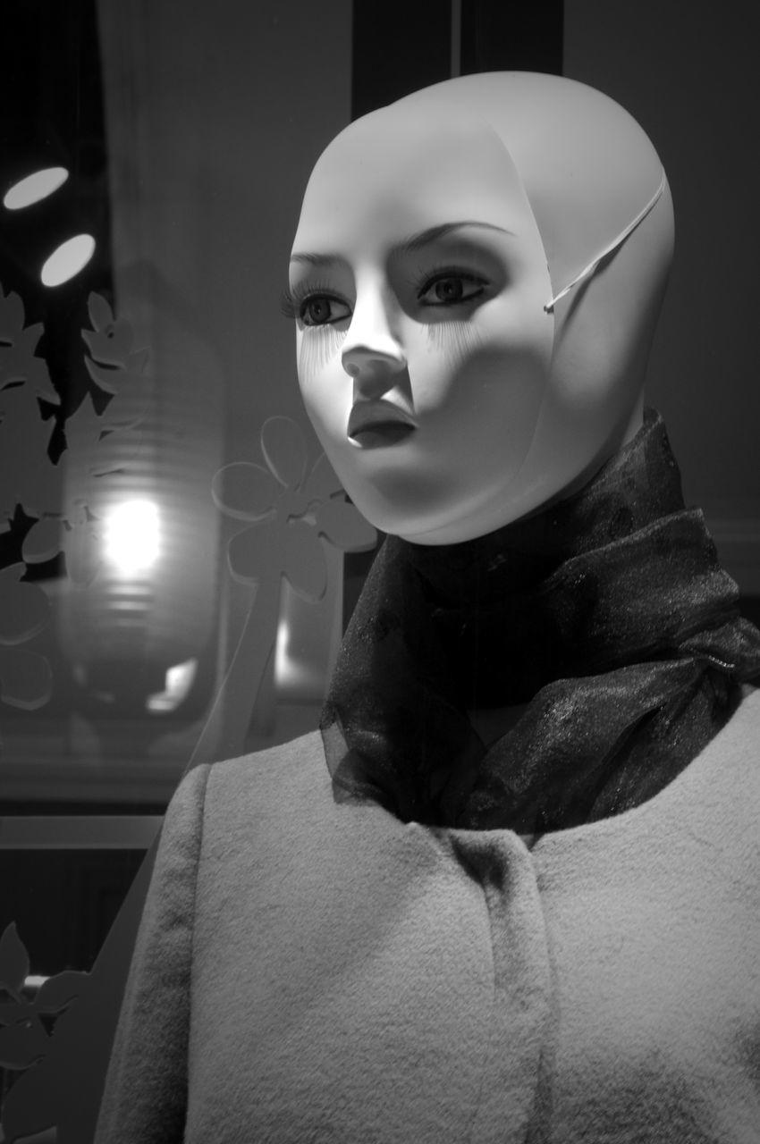 mannequin, store, human representation, female likeness, retail, indoors, no people, illuminated, close-up, night