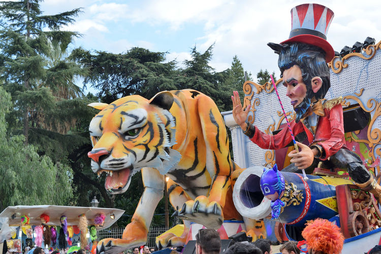 Acireale (CT), Italy - February 11, 2018: detail of a allegorical float during the carnival parade along the streets of Acireale. 2018 Carnival Celebration Event Float Fun Allegorical Art Colorful Enjoyment Entertainment Exhibitions Festival Mask Masquerade Parade People Satirical Traditional