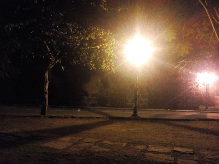 Outdoor Photography Tree Lamp Post Light And Shadows Light In The Darkness Intramuros,manila Intramuroswalls Manila Street Grass And Concrete