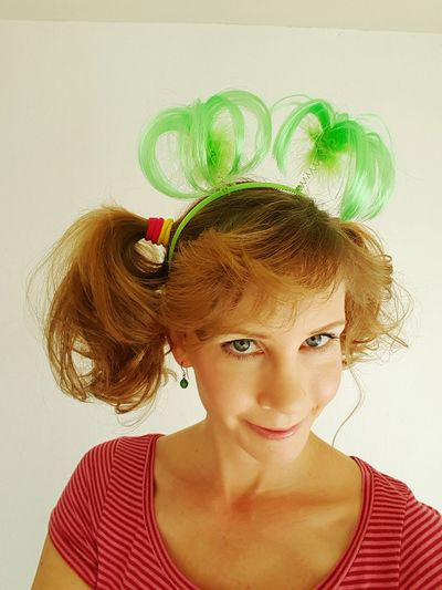Halloween Happy Halloween Pigtails  Crazy Hair Having Fun Dressing Up Going To A Party Party Face Smile ✌ Cheese! Pink Dress Green Hair Headband Being Silly Girl Blue Eyes Party Time Stripes Kids' Party Happy Bright Colors Faces In Places Faces Of EyeEm Colors