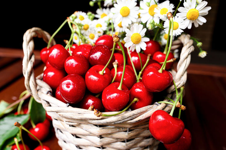 Close-up of red berries in basket