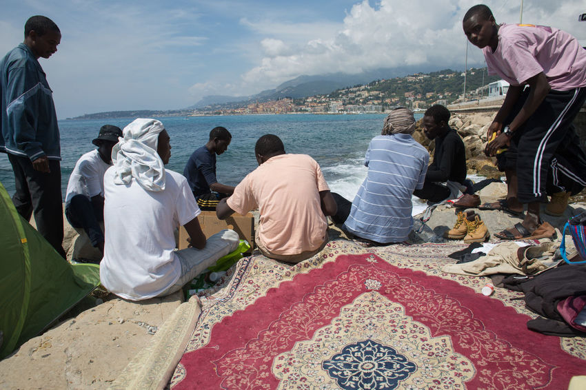 Immigrants at Ventimiglia, Italy, on June 17th. 2014. Conflicts Immigrants Immigration Politics Racism Razzia Refugees Ventimiglia