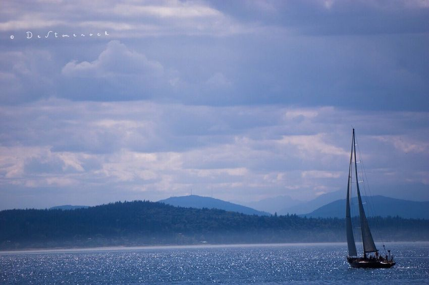 Sky Scenics Water Nautical Vessel Mountain Outdoors Nature Tranquil Scene Transportation Sailboat Sea Mountain Range Mode Of Transport Beauty In Nature Cloud - Sky Tranquility Camera Practice Testing Camera Photography Waterfront