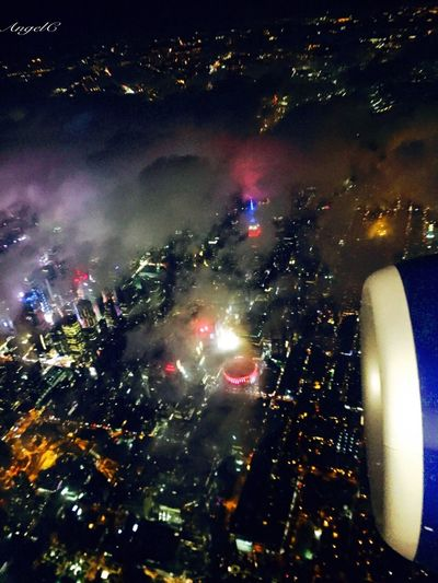 Times Square NYC Night View AirPlane ✈ Traveler Non-sleep City Come Home Come Here