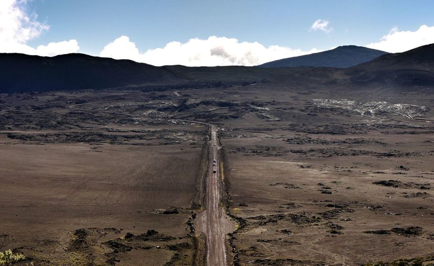 High Angle View Of Road Amidst Volcanic Landscape