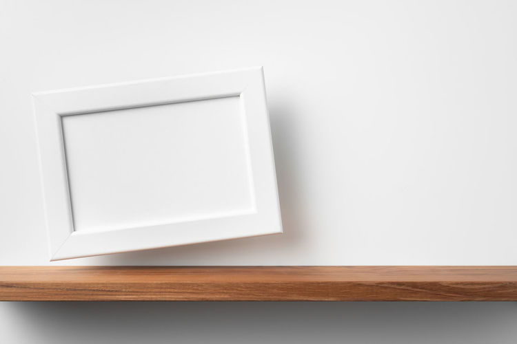 High angle view of white table