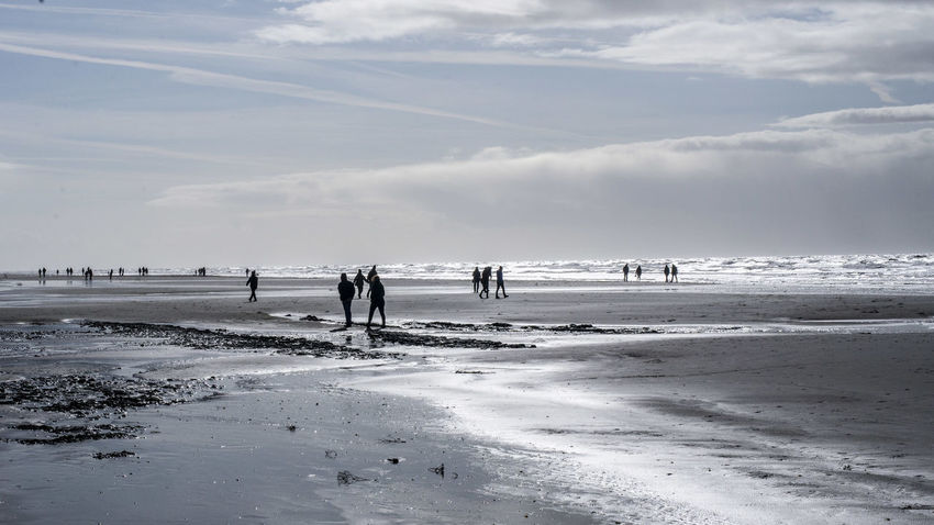 Beach Beauty In Nature Cloud - Sky Day Group Of People Horizon Horizon Over Water Land Leisure Activity Lifestyles Men Nature Outdoors People Real People Scenics - Nature Sea Sky Water Wave