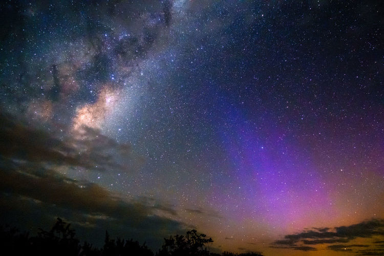 Milky Way with Aurora Australis Astronomy Aurora Aurora Australis Galaxy Geomagnetic Storm Milky Way Nature Night Night Photography Sky Solar Storm Solar Wind Space Star - Space