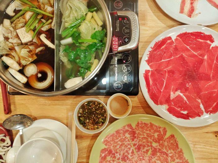 ชาบู Food Close-up Healthy Eating Freshness High Angle View Chabu Meats Food And Drink