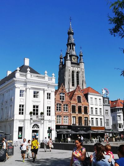 Place kortrijk Clock City Clock Face Astronomical Clock Clock Tower Clear Sky Police Force Politics And Government History Business Finance And Industry Tower Gothic Style Town Square