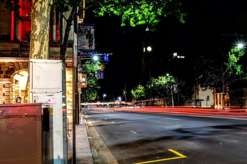 Streets King William Street Adelaide Adelaide Town House Lighttrails Street Road Night Outdoors City Street Transportation Street Light No People City Building Exterior Illuminated Architecture