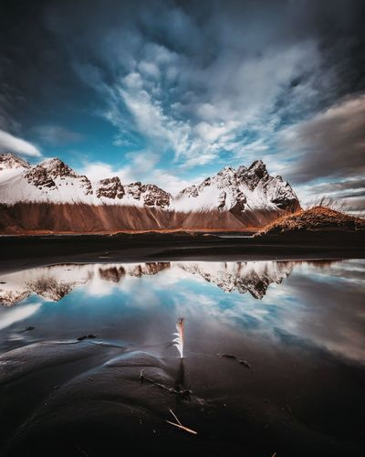 Vestrahorn Mountain. 07.10.2018 Water Cloud - Sky Sky Reflection Beauty In Nature Scenics - Nature Autumn Mood Snowcapped Mountain Outdoors Mountain Day Nature Tranquil Scene No People EyeEmNewHere