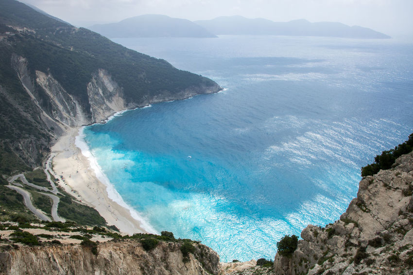 Famous Myrtos beach on Greek island Kefalonia (Cephalonia), view from above Kefalonia, Greece Nature Sunny Swimming Travel Vacations Bay Beach Beauty In Nature Blue Cephalonia Enjoying Life Greece Ionian Island Kefalonia Landscape Myrtos Beach Scenics - Nature Sea Summer Sunbathing Tourism Tranquility Water