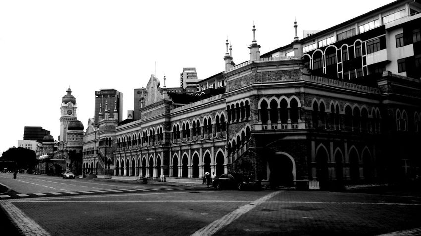 Architecture Building Exterior City Travel Destinations Built Structure Outdoors Sky Urban Skyline Day Black And White Building Historical Place Infront Of Merdeka Square Bangunan Sultan Abdul Samad Kuala Lumpur Malaysia