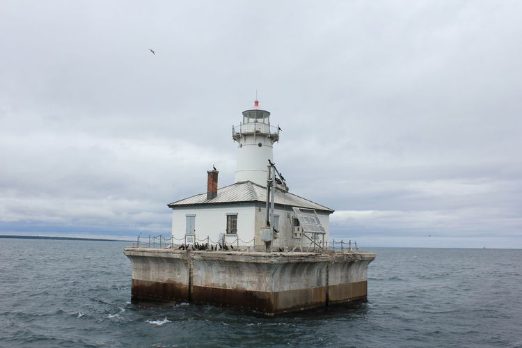 Architecture Beauty In Nature Building Exterior Built Structure Cloud - Sky Day Fourteen Foot Shoal Light Horizon Over Water Lighthouse Lighthouse Cruise Lighthouse_lovers Nature Nautical Vessel No People Outdoors Scenics Sea Sky Water Waterfront