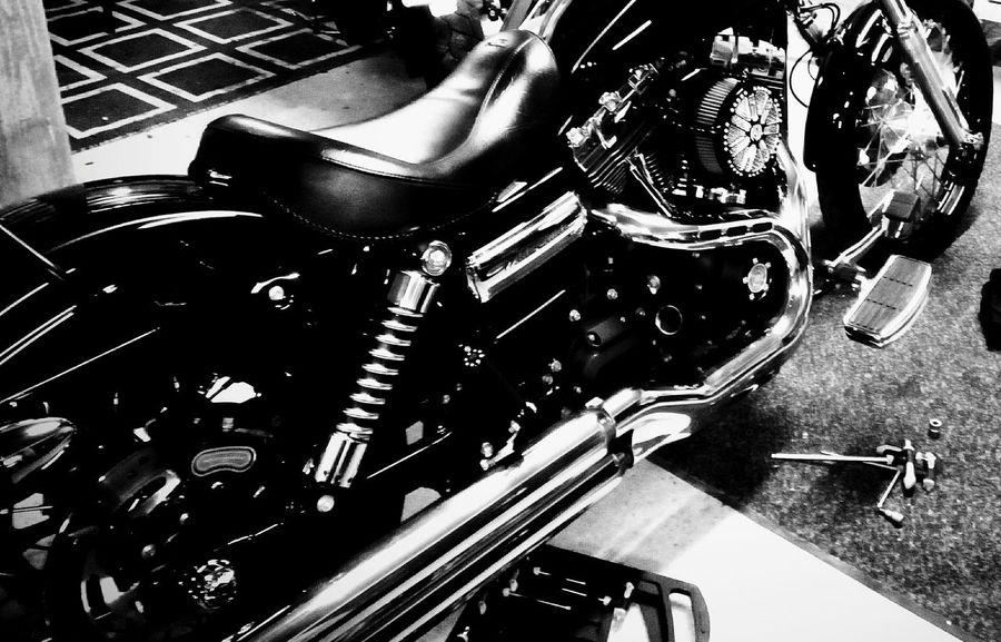 Harley Davidson . Garage Alireza Rezvani  Berlin Transport Bicycle Motorcycle City Transportation Black And White Blackandwhite Photography