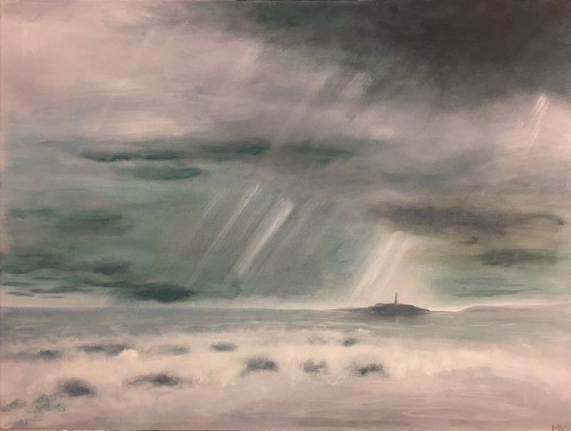 Storm over Godrevy COMMISSION ArtWork Art Painting Cloud - Sky Sky Transportation Nature Scenics - Nature Dramatic Sky Beauty In Nature Power In Nature Storm Cloud Outdoors Storm Water Land Environment
