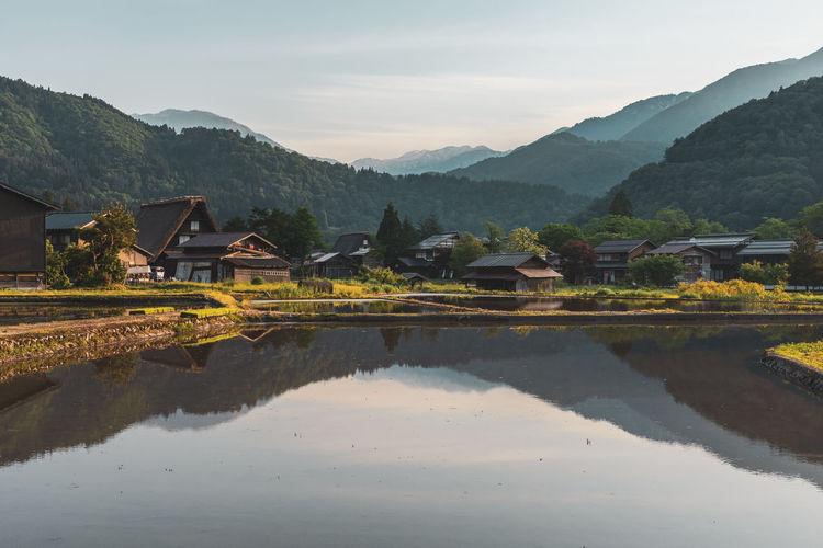 Breathtaking landscapes with rice paddies in shirakawago