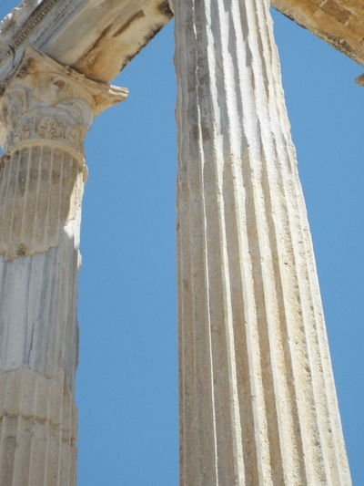 Historical Monuments Ancient Pillars Side, Turkey Ancient Architecture 💗 Side Ancient Ruins Blue Sky Apollo Temple Close-up