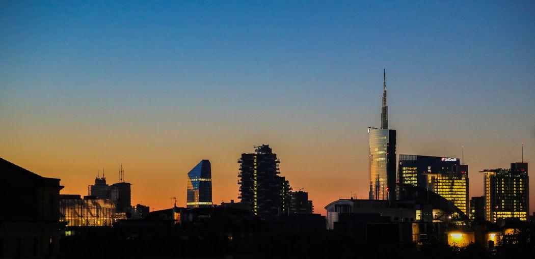 Modern cityscape at sunrise