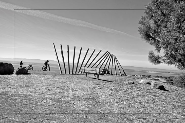 Rising Wave 5 Oyster Bay Regional Park San Leandro, Ca. Stainless Steel Sculpture Artist: Roger Berry Rising Wave Is It Art? Poles 16 Poles All About Angles Swelling Wave Bay Vistas San Francisco Bay Trail Nature Wooden Bench Bicyclists Bolders Jets Trail Hilltop Monochrome Monochrome Photograhy Black & White Black And White Photography Black And White Black And White Collection  Spectacular Views