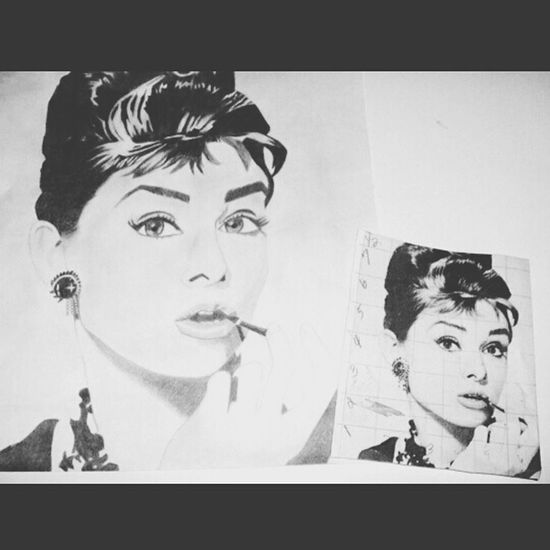 unfinished Audrey Hepburn...first drawing Art Drawing B&w ArtWork