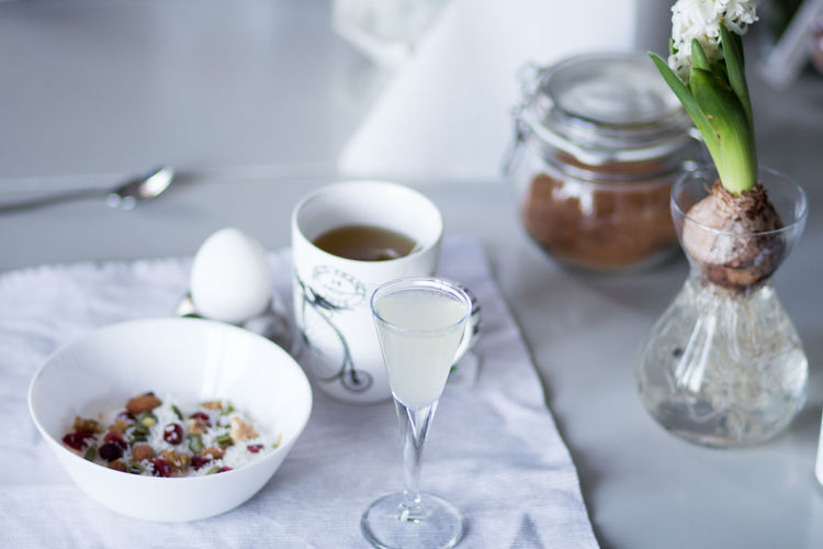 Hyacinth Flower Bowl Breakfast Close-up Container Crockery Drink Eating Utensil Focus On Foreground Food Food And Drink Freshness Glass Healthy Eating Household Equipment Indoors  Kitchen Utensil No People Refreshment Spoon Still Life Table Wellbeing
