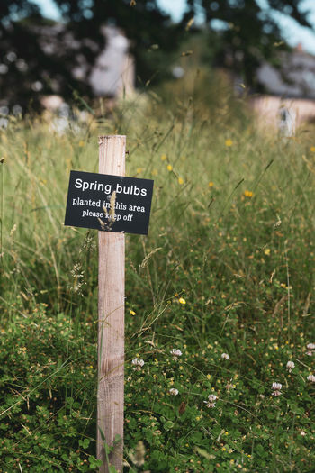 Information sign on wooden post