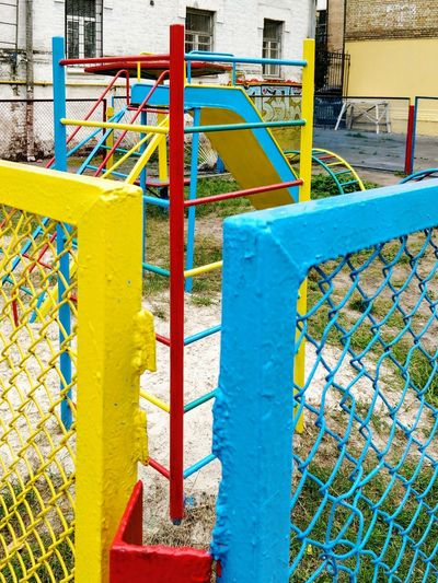 Playground in National Colors . Kiev Ukraine . Outdoors Day No People Colorful