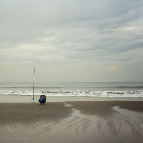 Sea Beach Sand One Person Real People Cloud - Sky Bali, Indonesia Nature Day Angler
