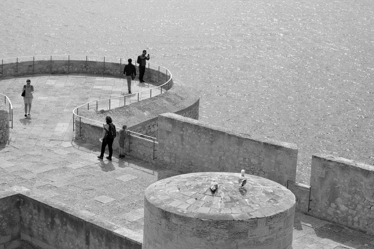 High angle view of people on the wall