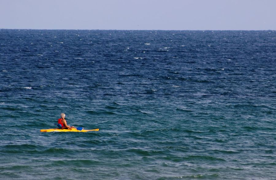 Extreme Sports Blue Sky Sea And Sky Canoeing Showcase: February Blue Sea Summer Memories 🌄 Black Sea Simplicity Simple Background Carefree Expectation Seaside Sea View Photography In Motion Blue Wave Day Outdoors Simplicity Horizon Over Water Water Blue Clear Sky