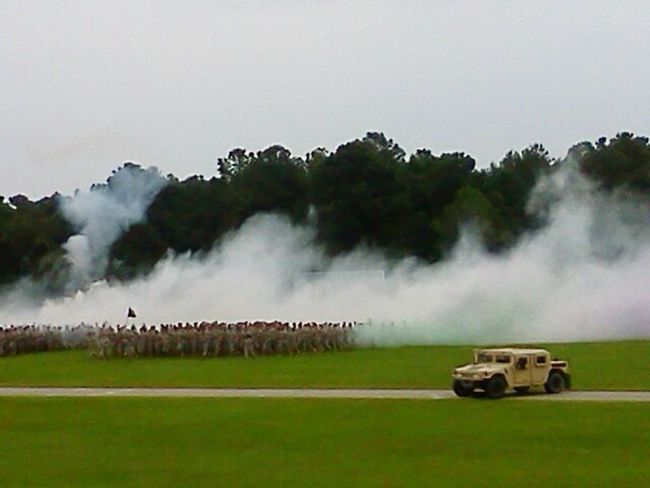 Soldiers Training Jeep Paint The Town Yellow Large Group Of People Outdoors Ceremony Site Army Hooah!!! Army Truck Army Fort Jackson ColumbiaSC