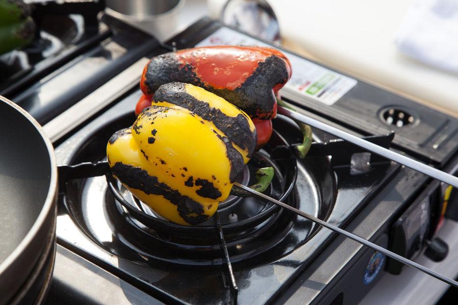cooking festival Bell Pepper Burner Burning Close-up Cooking Cuisine Day Egg Yolk Healthy Eating Horizontal Metal No People Paprica Vegetable