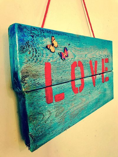 Love No People Red Close-up Indoors  Day Pallet Pallet Wood Art Wall Hanging Low Angle View Hanging Wood - Material Textured  Indoors