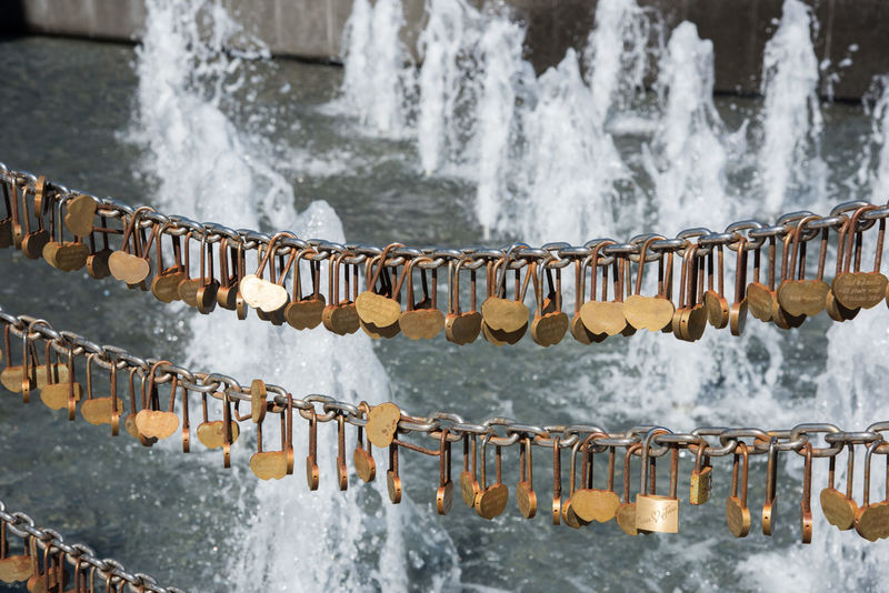 Australia Chainlink City Close-up Collection Etched Expression Fence Fountain Gold Golden Hanging Heart Shape Large Group Of Objects Lock Love Love Lock Outdoors Padlock Perth Romantic Symbolic  Water Water Fountain Western Australia