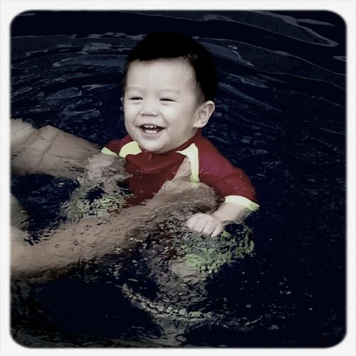 He is Amazing... Never afraid whenever I ask him to swim.. He's even get more excited wait me asking him to swim