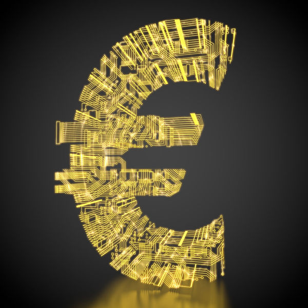 euro symbol made out of circuits 3D 3d Rendering Currency Electronic Gold Golden Tech Black Background Cash Circuit Circuit Board Circuits Digital Electricity  Euro Euro Symbol Illuminated Money Rendering Technological Technology €