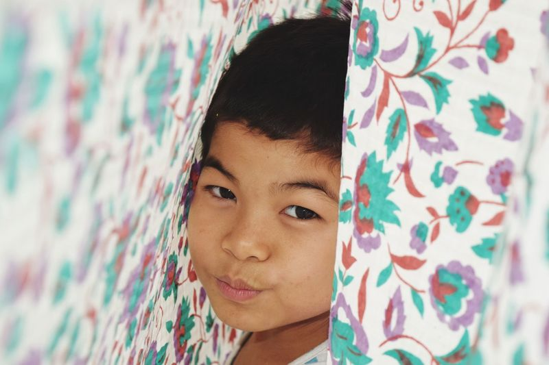 Portrait Of Boy Amidst Curtain