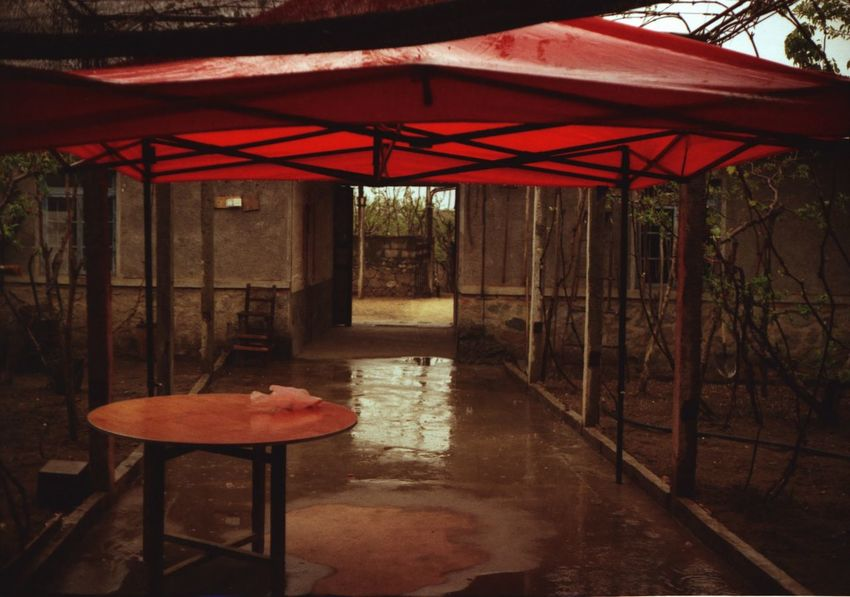 Analogue Photography Day No People North Korea Rainy Red Tent Table