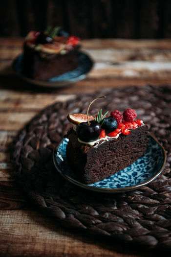 Close-Up Of Cake Served In Plate On Table