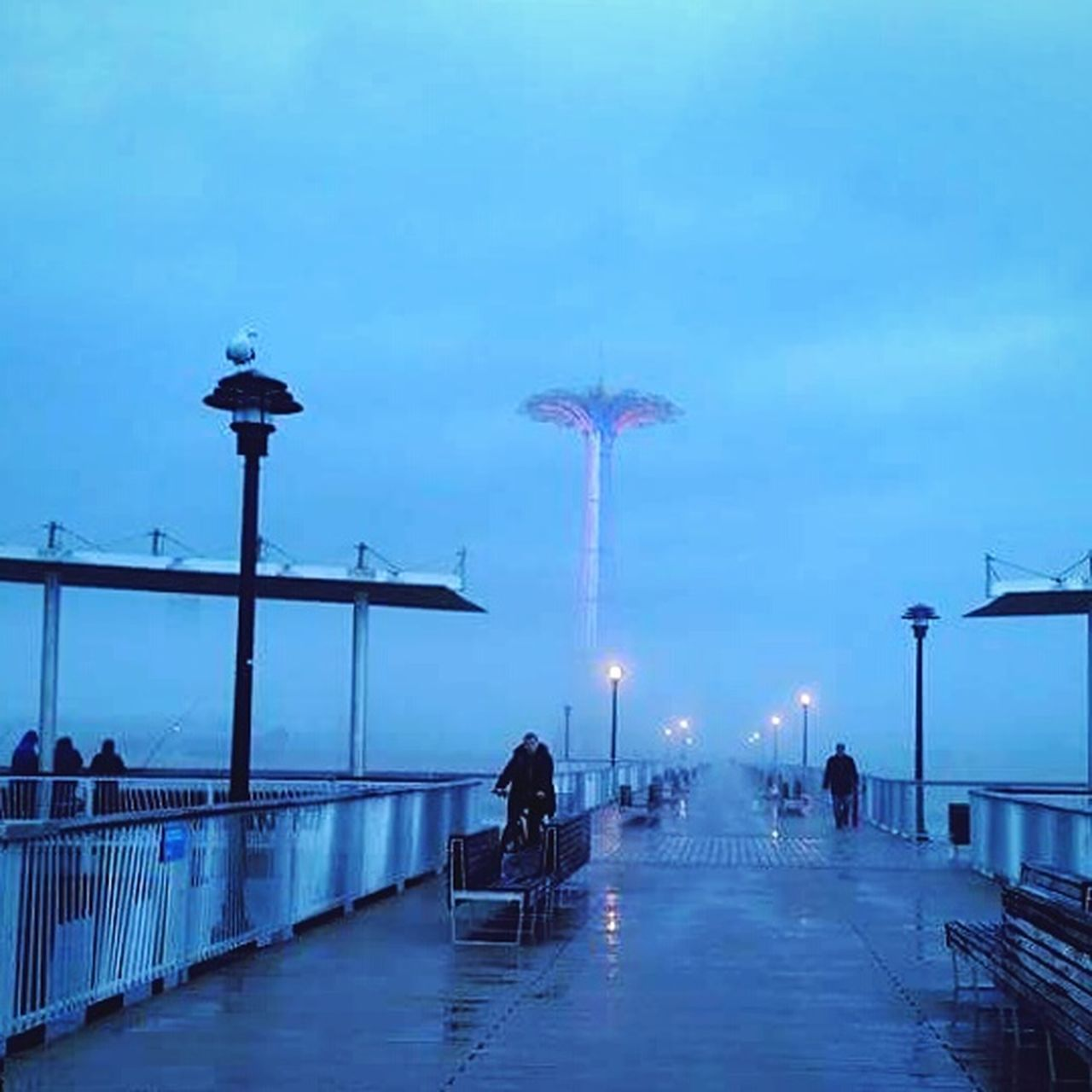 incidental people, street light, sky, lighting equipment, men, outdoors, illuminated, blue, travel destinations, night, people, bridge - man made structure, adult, adults only, standing, large group of people, women, clear sky, city, water, architecture, only men, nature, young adult, gondola - traditional boat