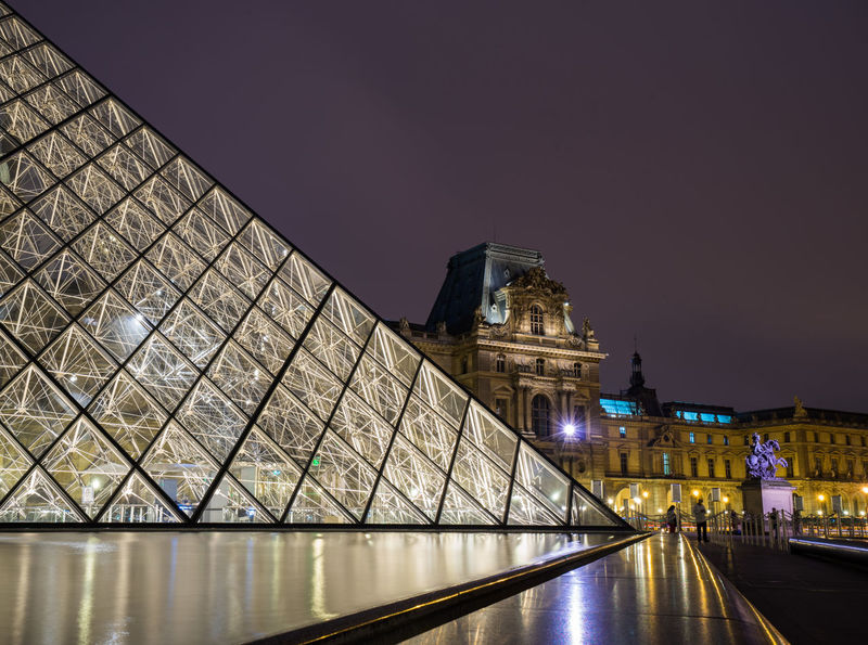 Louvre France Louvre Nightphotography Paris Building Glass Monument Museum