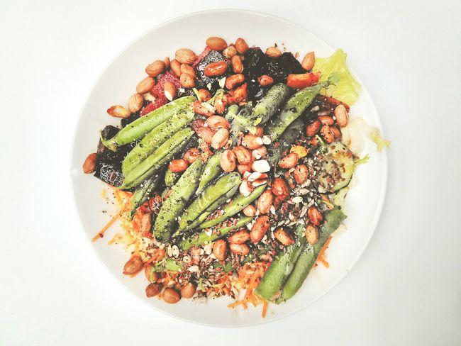 Full Plate Food Raw Food Vegetarian Salad Top Down View Healthy Vegetables Nuts Seeds Olive Oil Green Peas Feast Nutritious