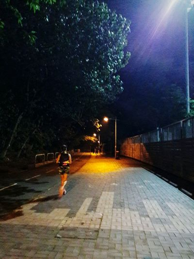 Night Illuminated Full Length One Person Outdoors Street Lights Tree Jogger Hang Hau