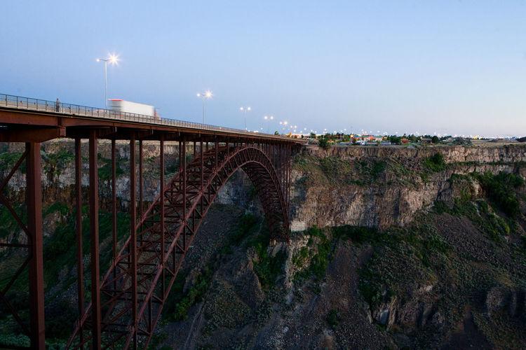 Perrine bridge against sky at dusk