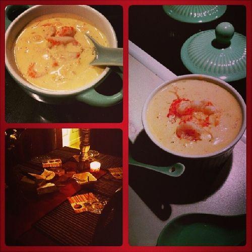 Lyx-tisdag med kräftsoppa :) Lyxigt Soppa Kr äftor Mumma gott nice tuesday night soup Candle ljus